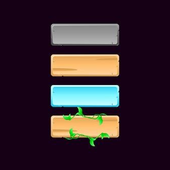 Ícone de botão do quadro de fantasia gui. textura de pedra, madeira, folha, neve para ilustração de elementos de recursos de interface do usuário