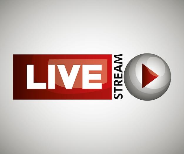 Ícone de botão live streaming design