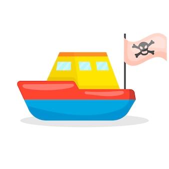 Ícone de brinquedo infantil de navio pirata isolado no fundo branco para seu projeto