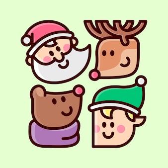 Ícone de cabeça da ilustração dos desenhos animados do personagem de natal papai noel e amigos