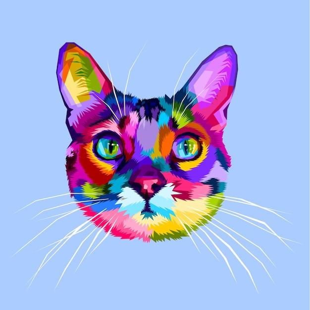 Ícone de cabeça de gato colorido no estilo pop art