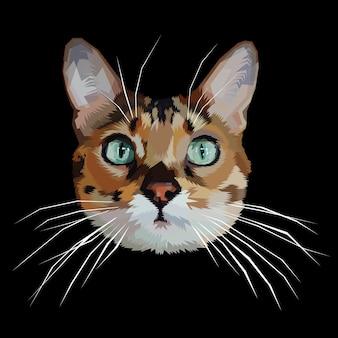Ícone de cabeça de gato no estilo poligonal geométrica triângulo