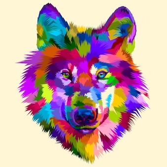 Ícone de cabeça de lobo colorido no estilo pop art