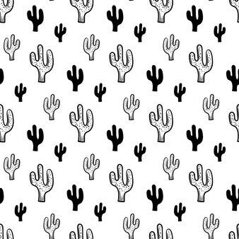 Ícone de cacto de padrão sem emenda de moda linda mão desenhada. esboço preto desenhado de mão. sinal / símbolo / doodle. isolado em um fundo branco. design plano. ilustração vetorial.