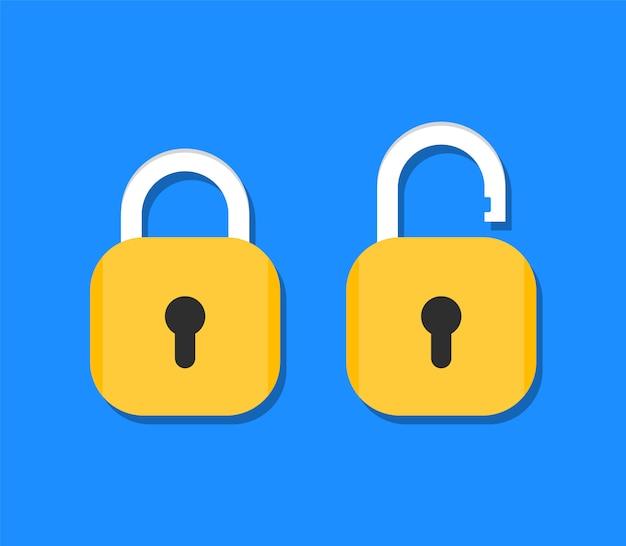 Ícone de cadeado bloqueado e desbloqueado. fechamento aberto e fechado em estilo simples.