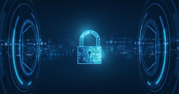 Ícone de cadeado com fechadura em dados pessoais de segurança de dados cibernéticos ou idéia de privacidade de informações.