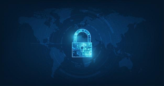 Ícone de cadeado com fechadura em segurança de dados pessoais