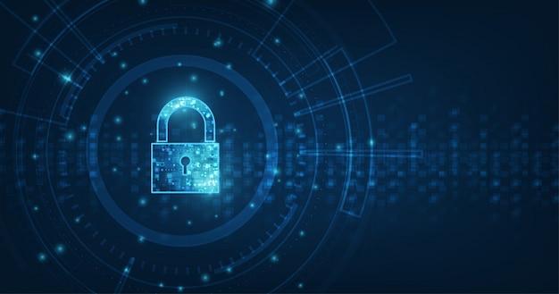 Ícone de cadeado com fechadura na segurança de dados pessoais ilustra a idéia de privacidade de dados ou informações cibernéticas