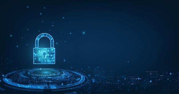 Ícone de cadeado com fechadura na segurança de dados pessoais ilustra idéia de privacidade de dados ou informações cibernéticas