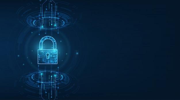 Ícone de cadeado com fechadura. segurança de dados pessoais ilustra a idéia de privacidade de dados ou informações cibernéticas. azul cor resumo oi velocidade internet tecnologia.