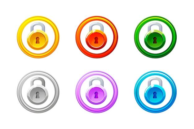 Ícone de cadeado em cores diferentes. bloqueio de nível da gui.
