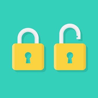 Ícone de cadeado plano, bloqueado e desbloqueado