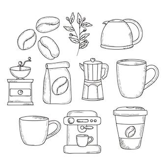 Ícone de café definido no fundo