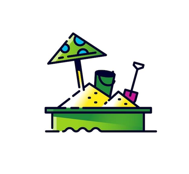 Ícone de caixa de areia infantil ilustração de um playground com brinquedos
