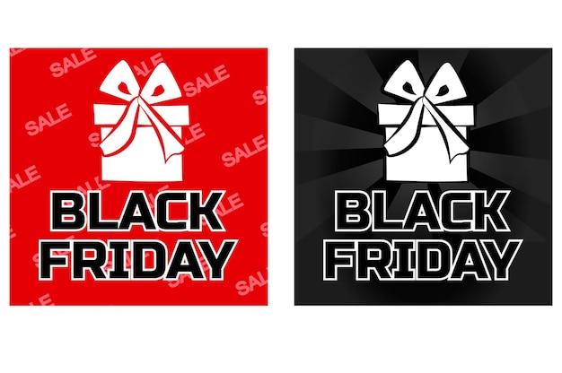 Ícone de caixa de presente de vetor preto sexta-feira na cor preta e vermelha