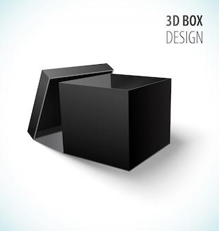 Ícone de caixa preta de papelão com tampa aberta