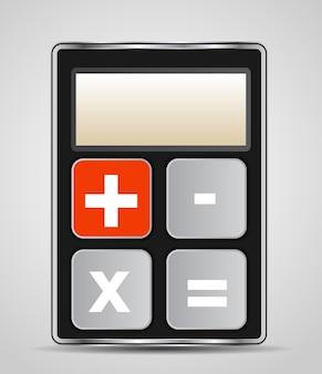 Ícone de calculadora de vetor com botões cinza