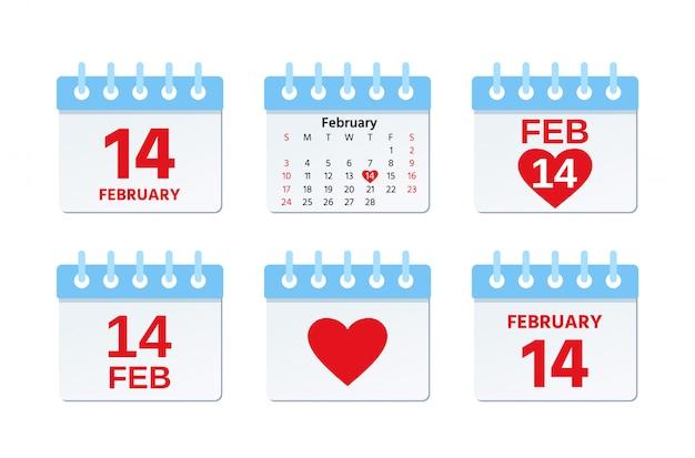 Ícone de calendário de 14 de fevereiro, dia dos namorados, página do calendário com data de feriado do amor