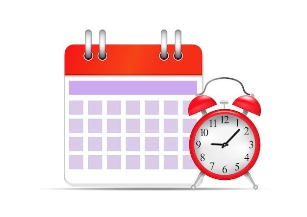 Ícone de calendário e relógio da ilustração vetorial. cronograma e conceito de data importante.