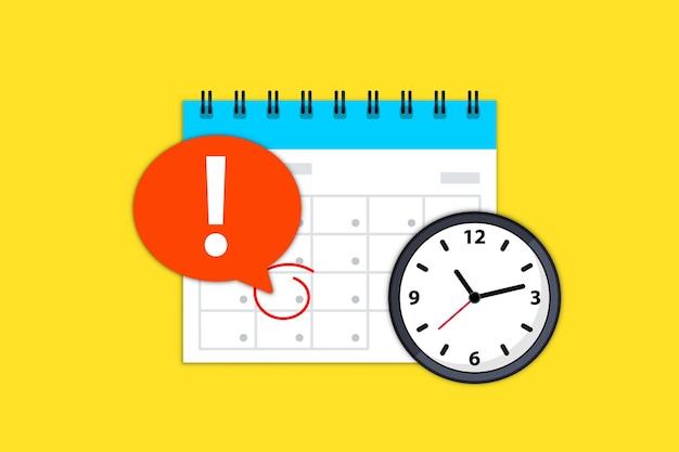 Ícone de calendário e relógio. notificação de prazo final de data de calendário. compromisso, horário, data importante. hora e data. prazo em um calendário, notificação de evento. lembrete de evento agendado na agenda