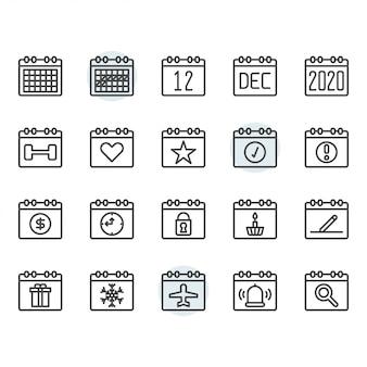Ícone de calendário e símbolo definido no contorno