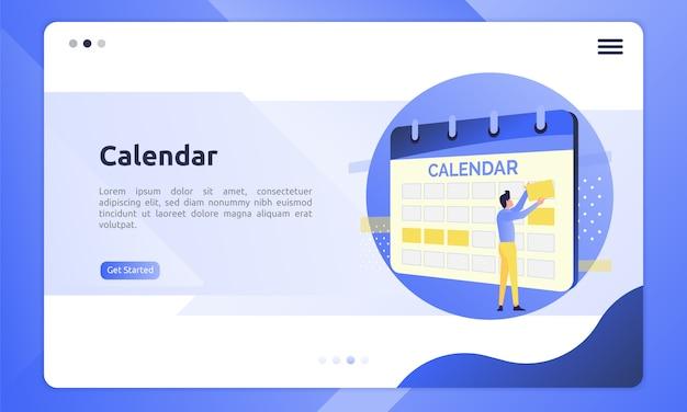 Ícone de calendário em uma ilustração plana