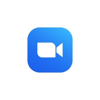 Ícone de câmera azul - aplicativo de streaming de mídia ao vivo para o telefone, chamadas de vídeo em conferência. símbolo de comunicação de vídeo moderno. vetor em fundo branco isolado. eps 10.