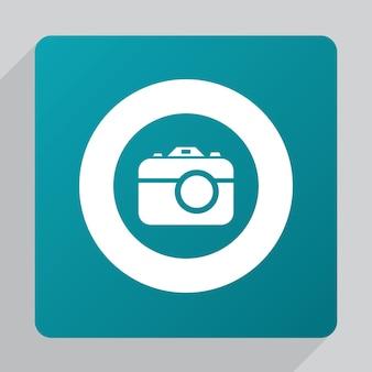 Ícone de câmera fotográfica plana, branco sobre fundo verde