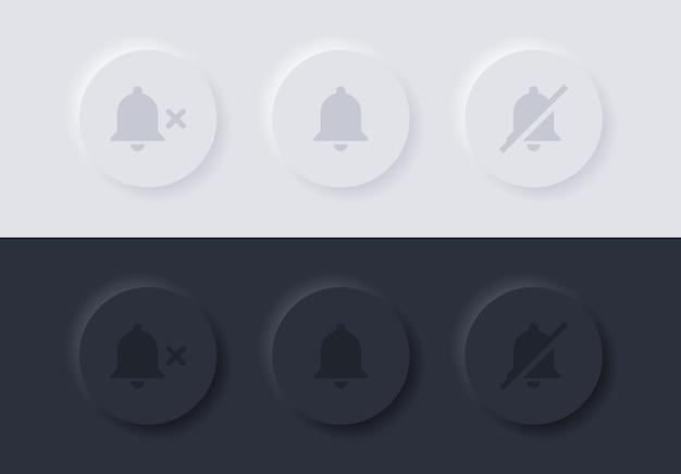 Ícone de campainha de notificação com símbolo de mudo nos botões de neumorfismo ou alarme desligado do botão neumorfico ui ux