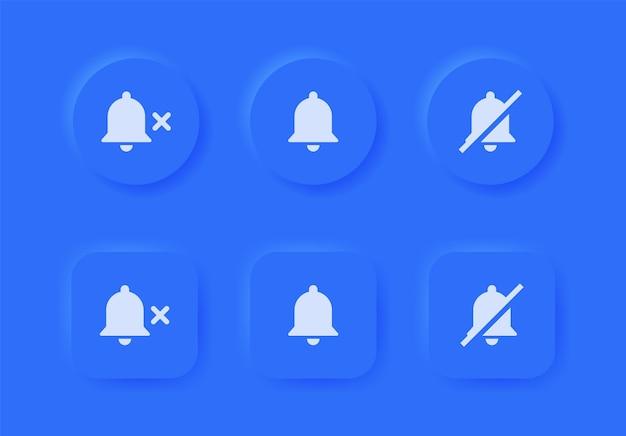 Ícone de campainha de notificação com símbolo mudo nos botões de neumorfismo azuis ou botão de alarme desligado