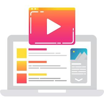 Ícone de campanha de mídia social de vetor de plano de conteúdo