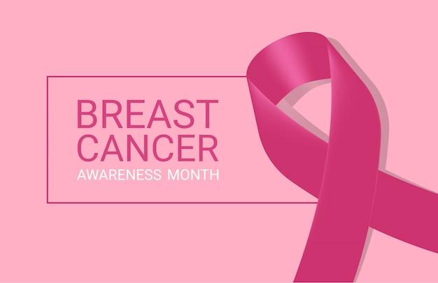 Ícone de câncer de mama realista com fita de consciência-de-rosa sobre fundo branco.