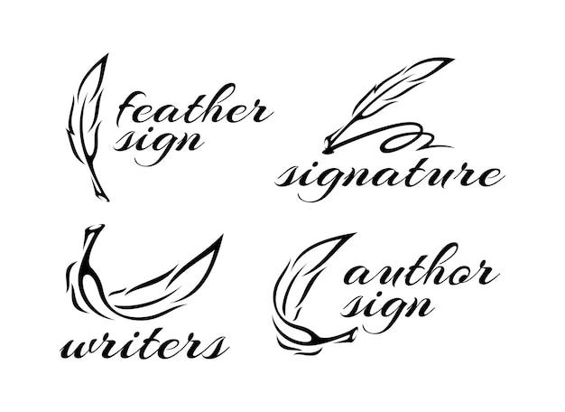 Ícone de caneta de pena pena design de logotipo ilustração de papelaria clássica