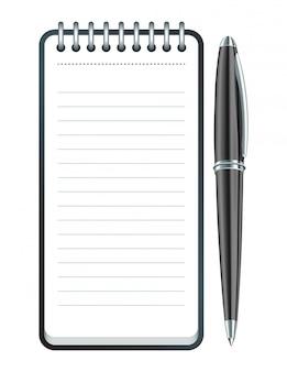 Ícone de caneta e bloco de notas preto. ilustração