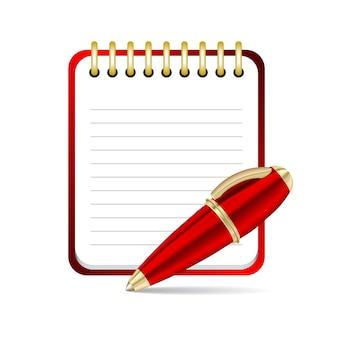 Ícone de caneta e bloco de notas vermelho. ilustração