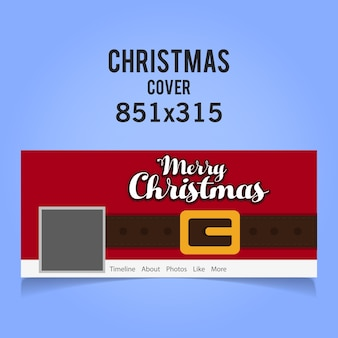 Ícone de capa de mídia social de natal com cinto de natal vermelho