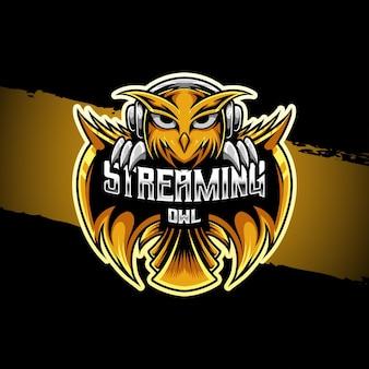 Ícone de caractere coruja de streaming de logotipo esport