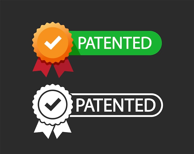 Ícone de carimbo de patente e emblema plano patenteado com sucesso