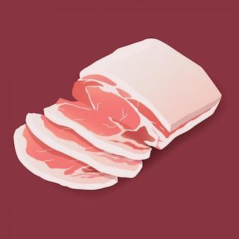 Ícone de carne de bife de porco cru em branco