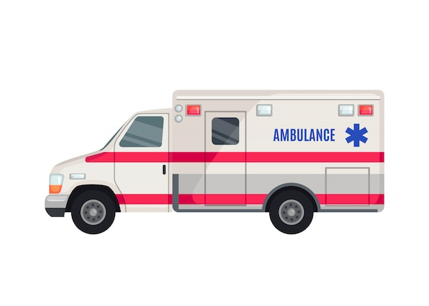 Ícone de carro de ambulância em estilo simples, isolado no fundo branco.