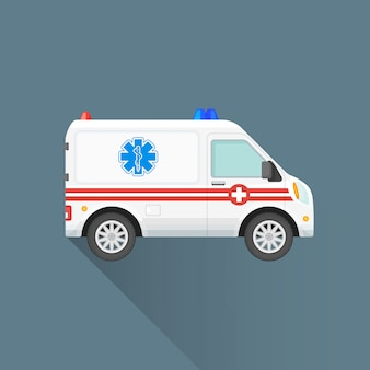 Ícone de carro de ambulância plana