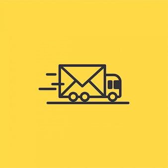 Ícone de carro de entrega de linha vetor abstrato com um envelope
