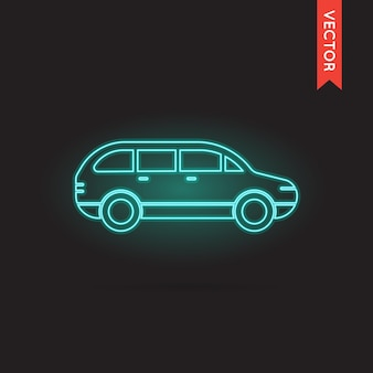 Ícone de carro de néon vetorial