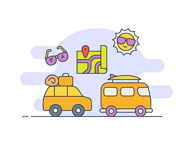 Ícone de carro de turismo em viagem com estilo de preenchimento de cores