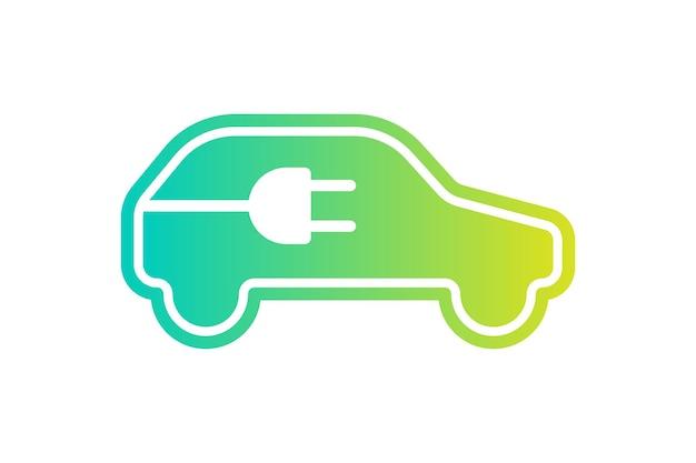 Ícone de carro elétrico, cabo elétrico, plugue, símbolo de gradiente de carga, veículo elétrico ecológico