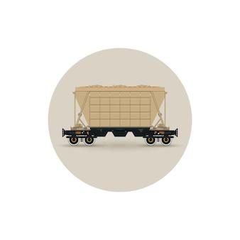Ícone de carro funil para fertilizantes de transporte em massa, cimento, grãos e outras cargas a granel, ilustração vetorial