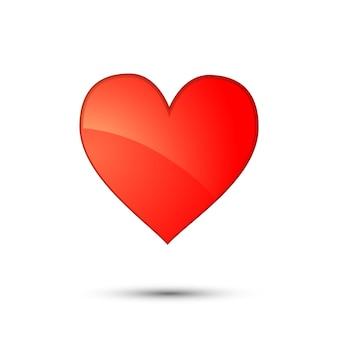 Ícone de cartão brilhante coração vermelho em branco