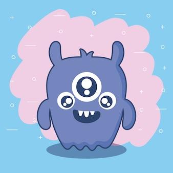 Ícone de cartão de monstro bonito