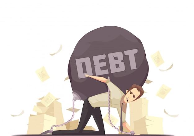 Ícone de cartoon de dívida de falha de negócios