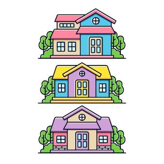 Ícone de casa colorida simples e fofa
